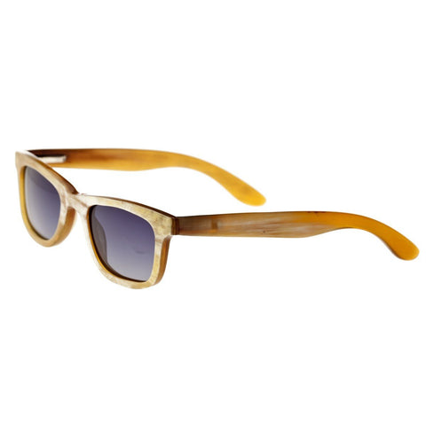 Bertha Zoe Buffalo-Horn Polarized Sunglasses - Cream-Black/Black