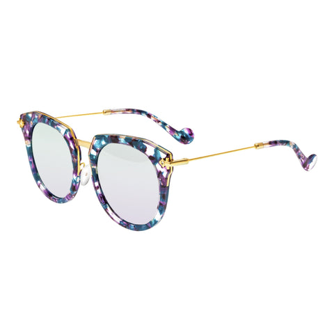Bertha Aaliyah Polarized Sunglasses - Teal-Purple Tortoise/Purple