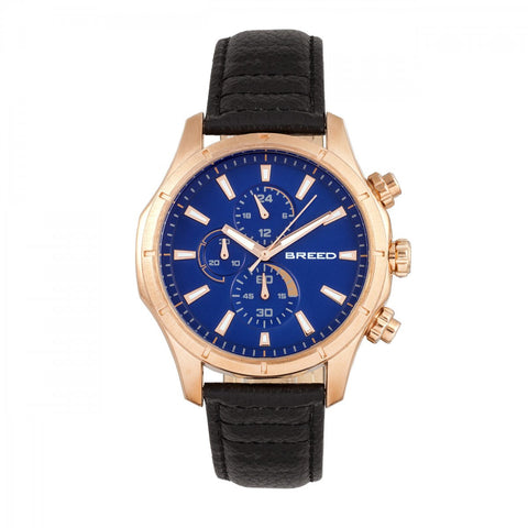 Breed Lacroix Chronograph Leather-Band Watch - Rose Gold/Dark Brown
