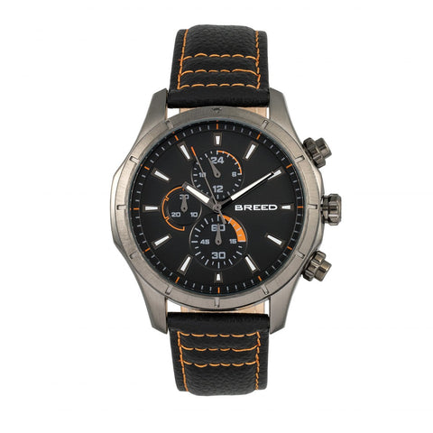 Breed Lacroix Chronograph Leather-Band Watch - Gunmetal/Charcoal