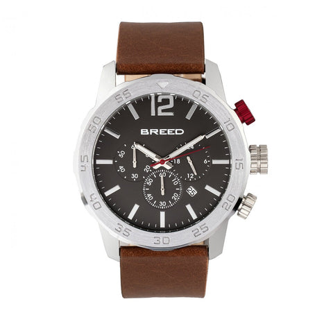 Breed Manuel Chronograph Leather-Band Watch w/Date - Silver/Brown