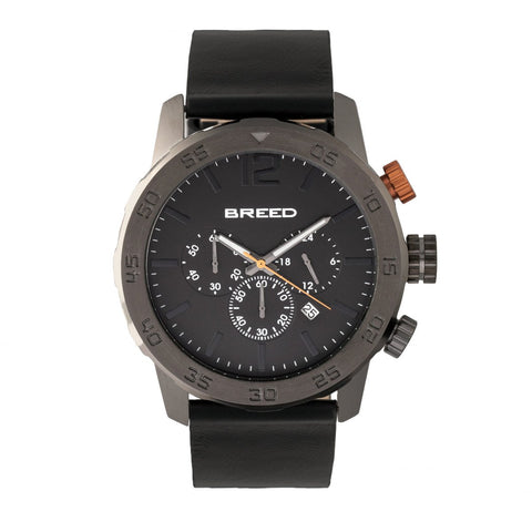 Breed Manuel Chronograph Leather-Band Watch w/Date - Gunmetal/Black
