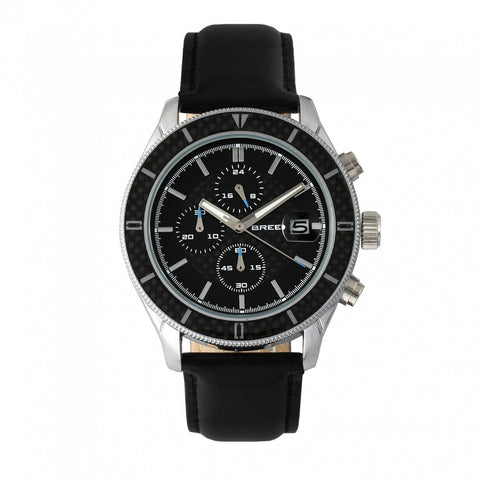 Breed Maverick Chronograph Leather-Band Watch w/Date - Silver/Black