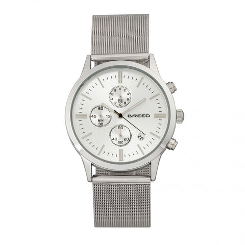 Breed Espinosa Chronograph Mesh-Bracelet Watch w/ Date - Silver