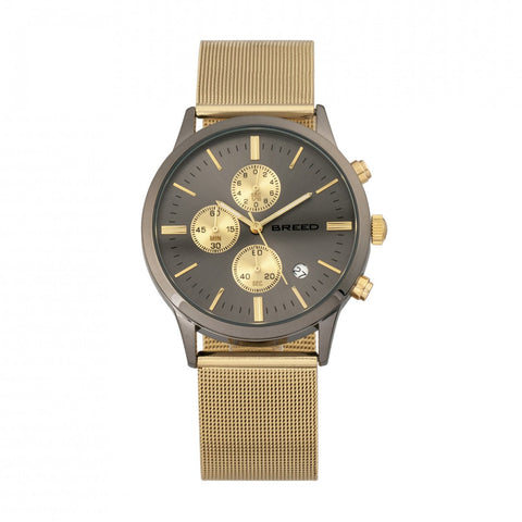 Breed Espinosa Chronograph Mesh-Bracelet Watch w/ Date -  Gold/Gunmetal