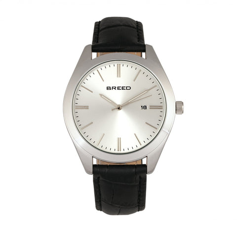 Breed Louis Leather-Band Watch w/Date - Black/Silver