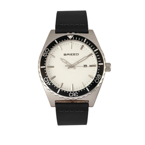 Breed Ranger Leather-Band Watch w/Date - Silver/White