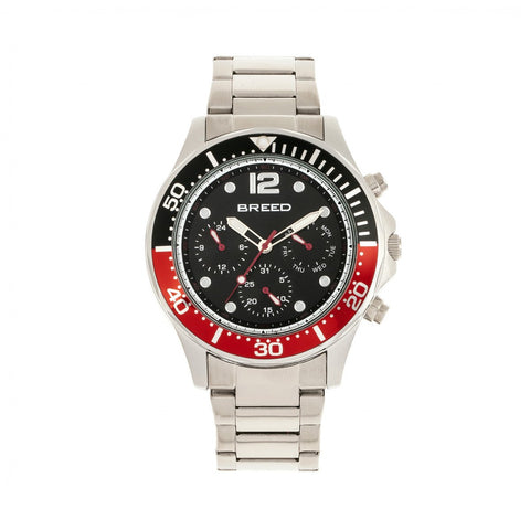 Breed Pegasus Bracelet Watch w/Day/Date - Red/Silver