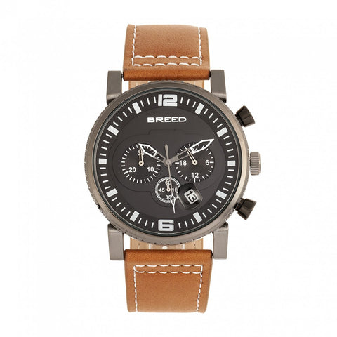 Breed Ryker Chronograph Leather-Band Watch w/Date - Camel/Gunmetal
