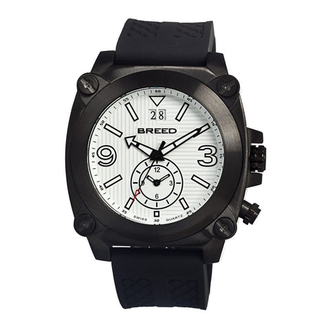 Breed Vin Dual-Time-Zone Swiss Quartz Men's Watch  -  Black/White
