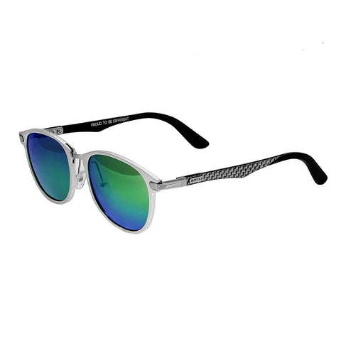Breed Cetus Aluminium and Carbon Fiber Polarized Sunglasses - Silver/Blue