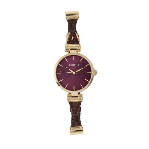 Bertha Amanda Criss-Cross Leather-Band Watch - Gold/Burgandy