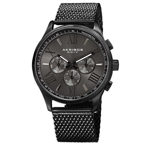 Akribos XXIV Men's Swiss Quartz Multifunction Dual Time Stainless Steel Black Bracelet Watch AK844BK