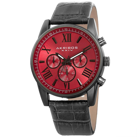 Akribos XXIV Men's Multifunction Genuine Leather Strap Watch AK911RD
