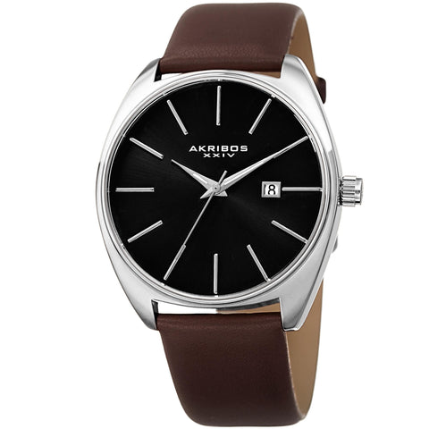 Akribos XXIV Men's Quartz Date Leather Strap Watch AK945SSBR