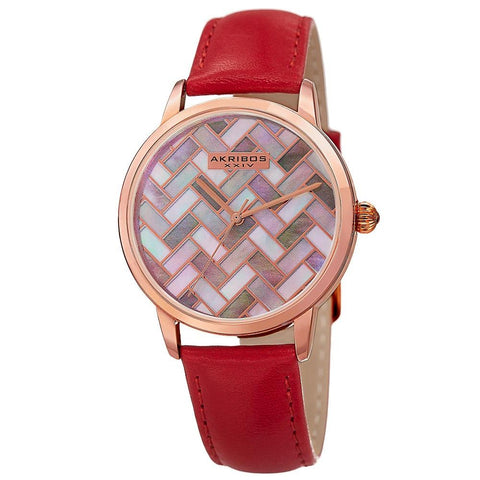 Akribos XXIV Women's  Quartz Geometric Dial Leather Strap Watch AK906RD