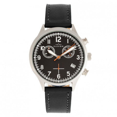 Elevon Antoine Chronograph Leather-Band Watch w/Date - Black
