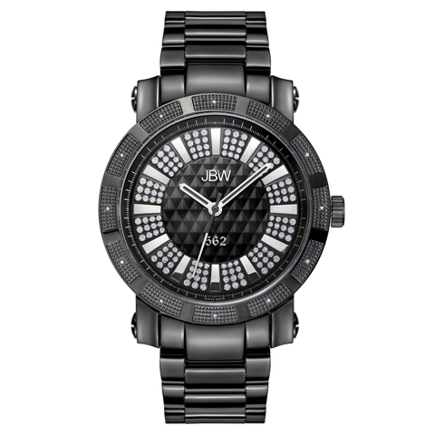 "JBW Men's ""562"" 0.12 ctw Black Ion-Plated Stainless Steel Diamond Watch JB-6225-D"