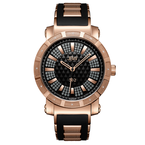"JBW Men's ""562"" 0.12 ctw 18K Rose Gold-Plated Stainless Steel Diamond Watch JB-6225-L"