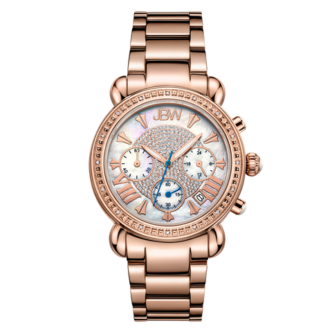 JBW Women's Victory 0.16 ctw 18K Rose Gold-Plated Stainless Steel Diamond Watch JB-6210-K