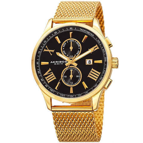 Akribos XXIV Men's Swiss Quartz Multifunction Stainless Steel Mesh Gold-Tone Bracelet Watch AK905YGB