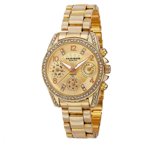 Akribos XXIV Women's Swiss Quartz Diamond-Accented Multifunction Bracelet Watch AK710YG