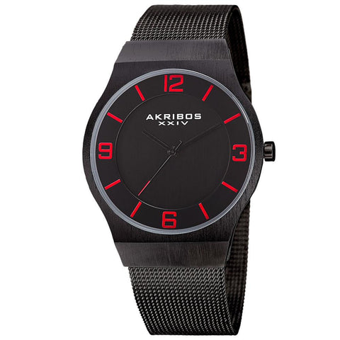Akribos XXIV Men's Japanese Quartz Stainless Steel Mesh Bracelet Watch AK851BK