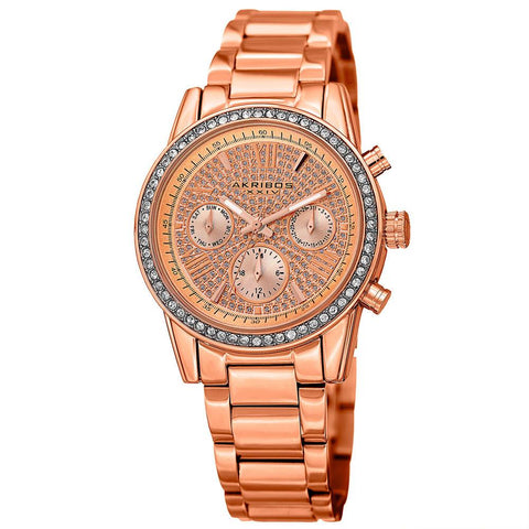 Akribos XXIV Women's Swiss Quartz Multifunction Swarovski Crystal Bracelet Watch AK926RG