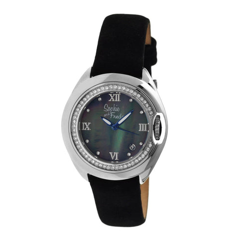 Sophie & Freda Belize MOP Ladies Watch w/ Date - Silver/Black