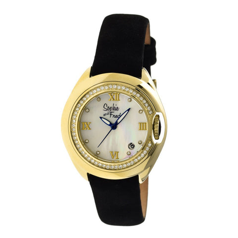 Sophie & Freda Belize MOP Ladies Watch w/ Date - Gold/White
