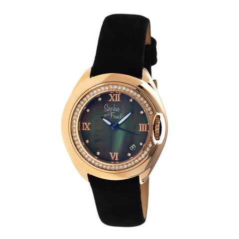 Sophie & Freda Belize MOP Ladies Watch w/ Date - Rose Gold/Black