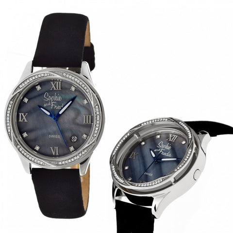 Sophie & Freda Los Angeles Swiss Ladies Watch - Silver/Black