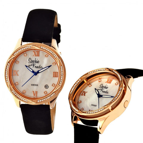 Sophie & Freda Los Angeles Swiss Ladies Watch - Rose Gold/White