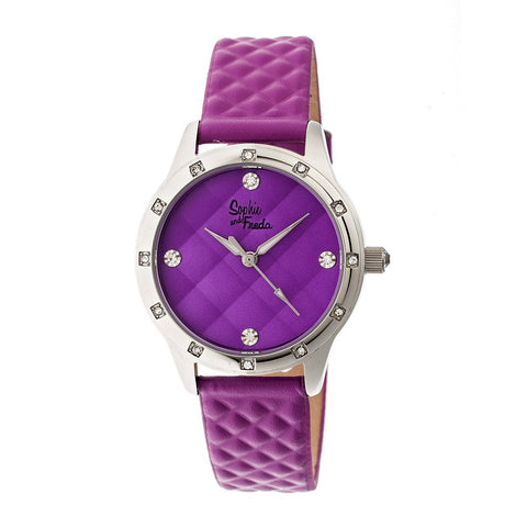 Sophie & Freda Lancaster Leather-Band Ladies Watch - Fuchsia