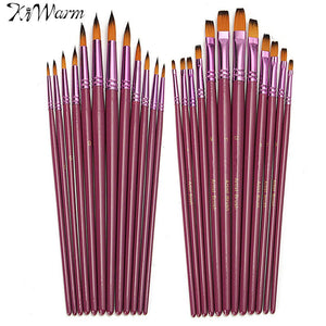 Kiwarm 12pcs/pack Different Size Paint Brush Set for Oil Watercolor Acrylic Artist Painting Brushes Drawing Art Craft Supplies