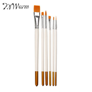 KiWarm 6pcs/lot Overvalue White Nylon Wood Paint Brush Set Artists Acrylic Watercolor Painting Brush Round Flat Tip Drawing