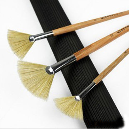 3pcs/set Fan shaped Paint Brush Oil Paint Brush Water color Painting Brush Nylon Hair Acrylics  Art for Supplies Drawing Tool