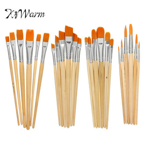 KiWarm 6PCS Practical 4 Different Shape Nylon Hair Paint Brush Set Wooden Handle Acrylics Gouache Watercolor Painting Brush Set