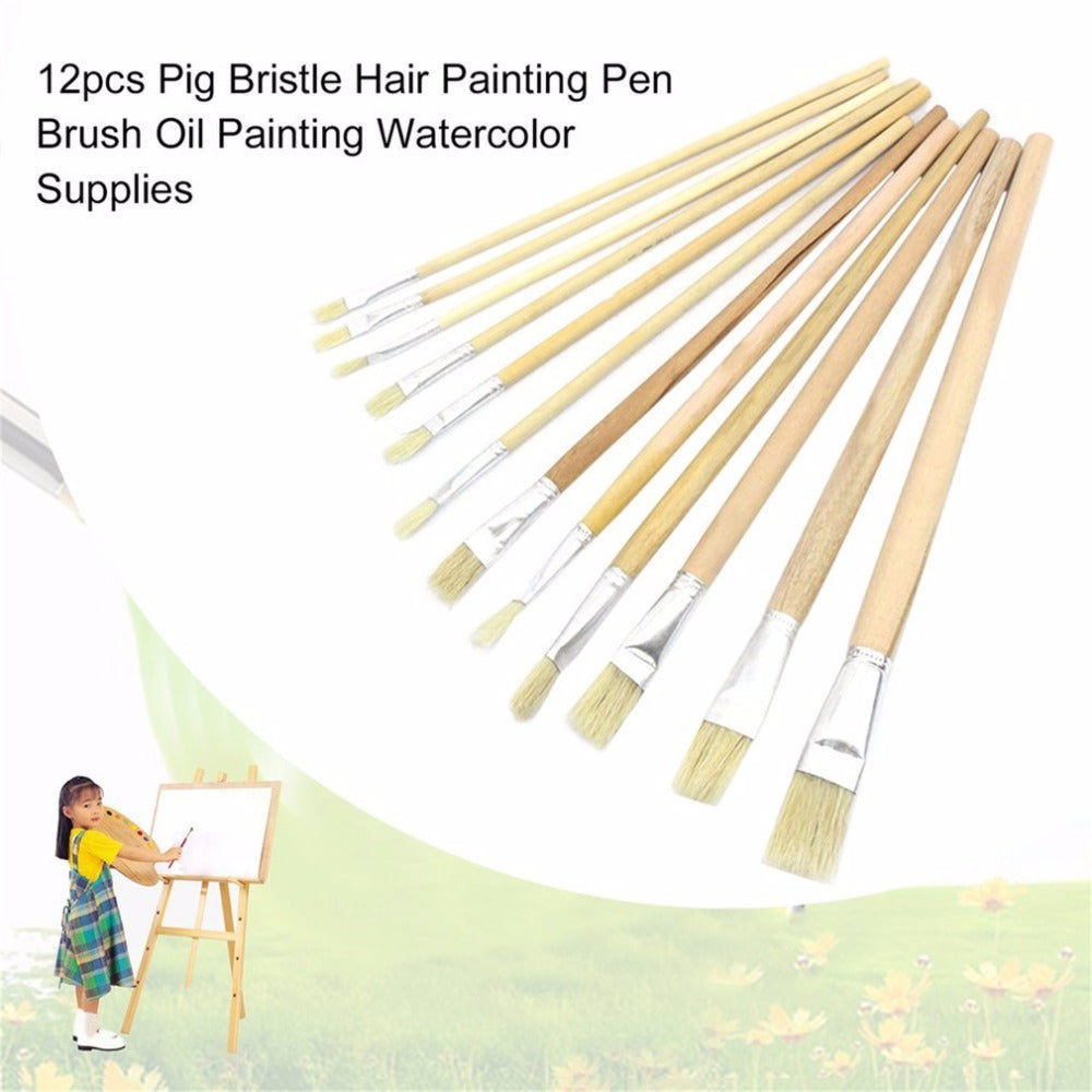 12pcs Pig Bristle Hair Wood Handle Painting Pen Brush Set Oil Painting Watercolor Paint Brush Professional Art Supplies New Hot!