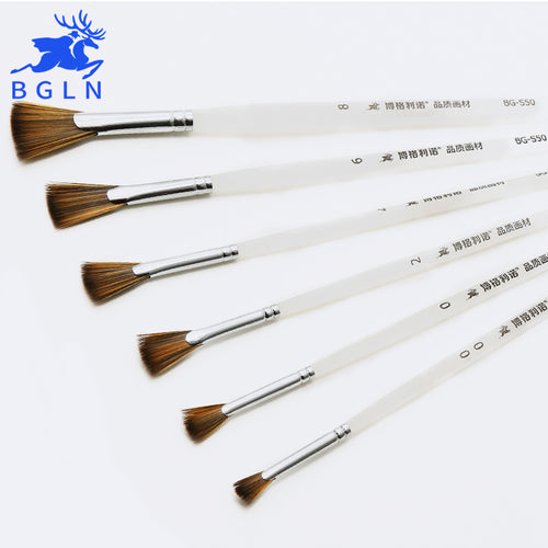BGLN Professional Nylon Hair Fan Brush Oil Paint Brush Scrub Pen Hand Painted Oil Acrylic Painting Brush Art Supplies BG-S50