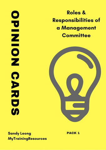 Roles & Responsibilities of a Management Committee Opinion Cards Pack 1