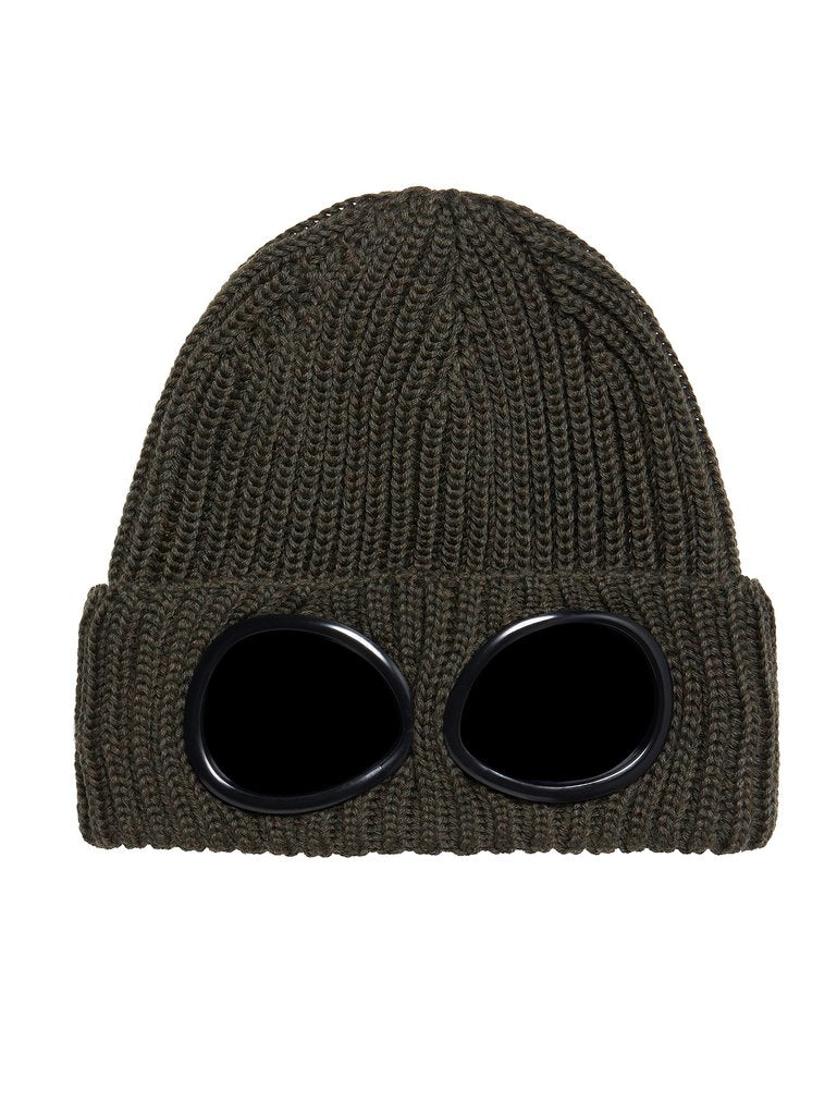 C.P. Company Ribbed Wool Goggle Hat - Dark Olive