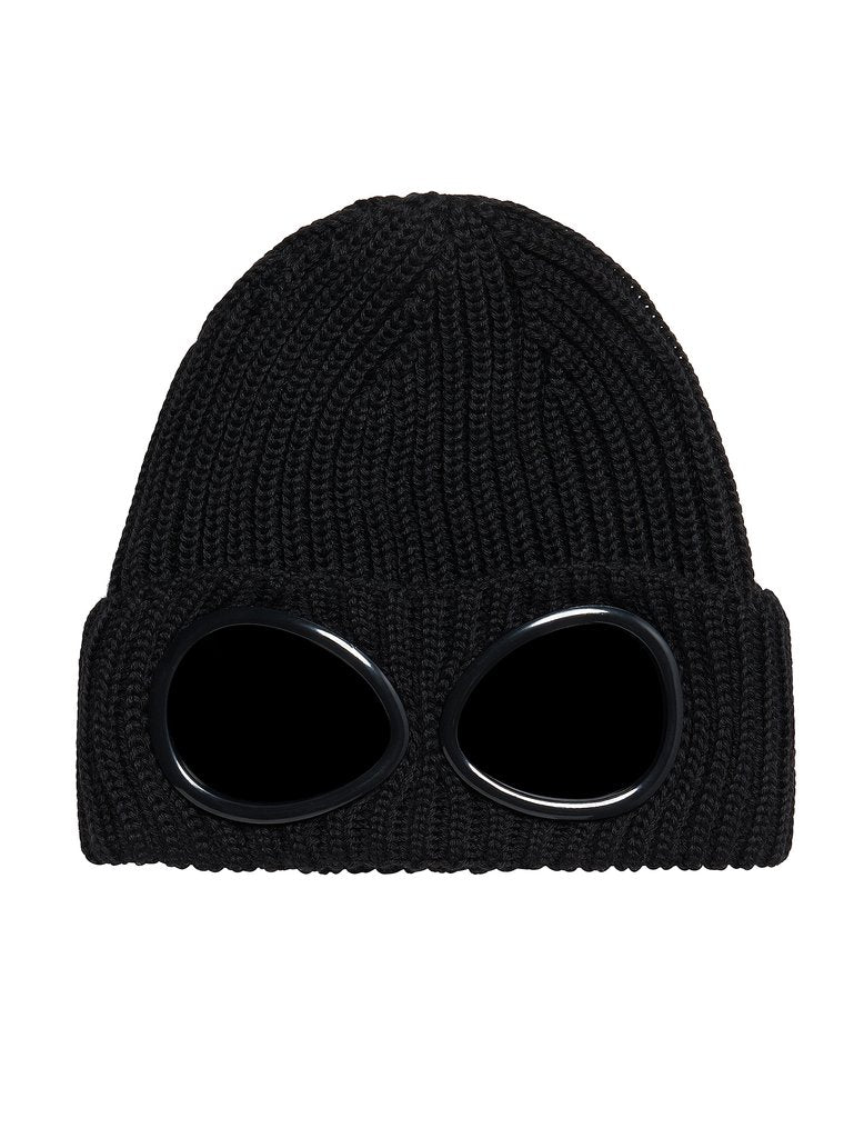 C.P. Company Ribbed Wool Goggle Hat - Black