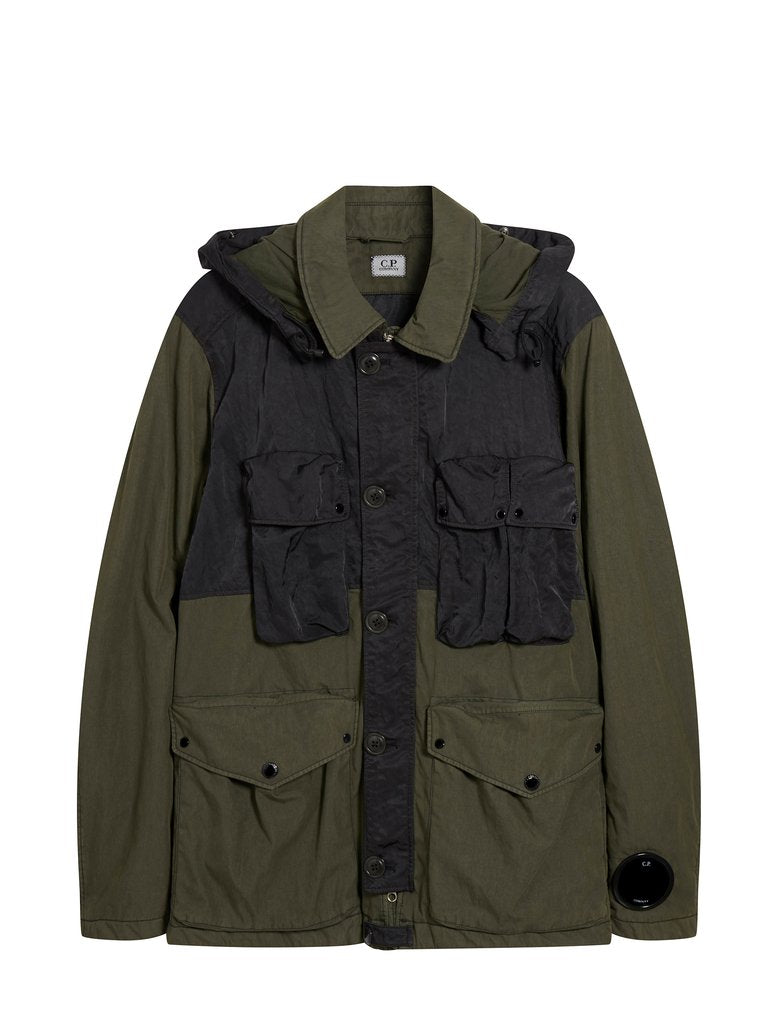 C.P. Company 50 Fili Contrast Panel Goggle Hooded Jacket - Dark Olive
