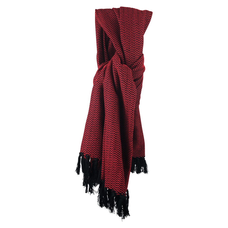 Luks Linen Chevron Scarf - Red & Black