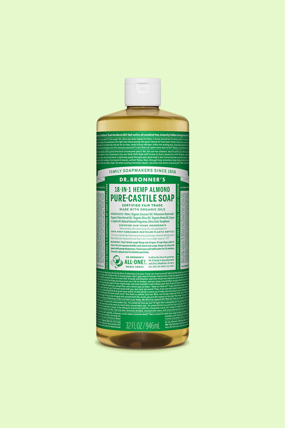 Dr Bronner's Pure Castile Soap - Almond 946ml