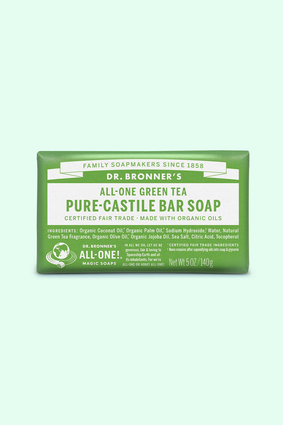 Dr Bronner's Pure Castile Bar Soap - Green Tea