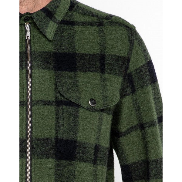 Lee 101 Wool Zip Overshirt - Storm Green