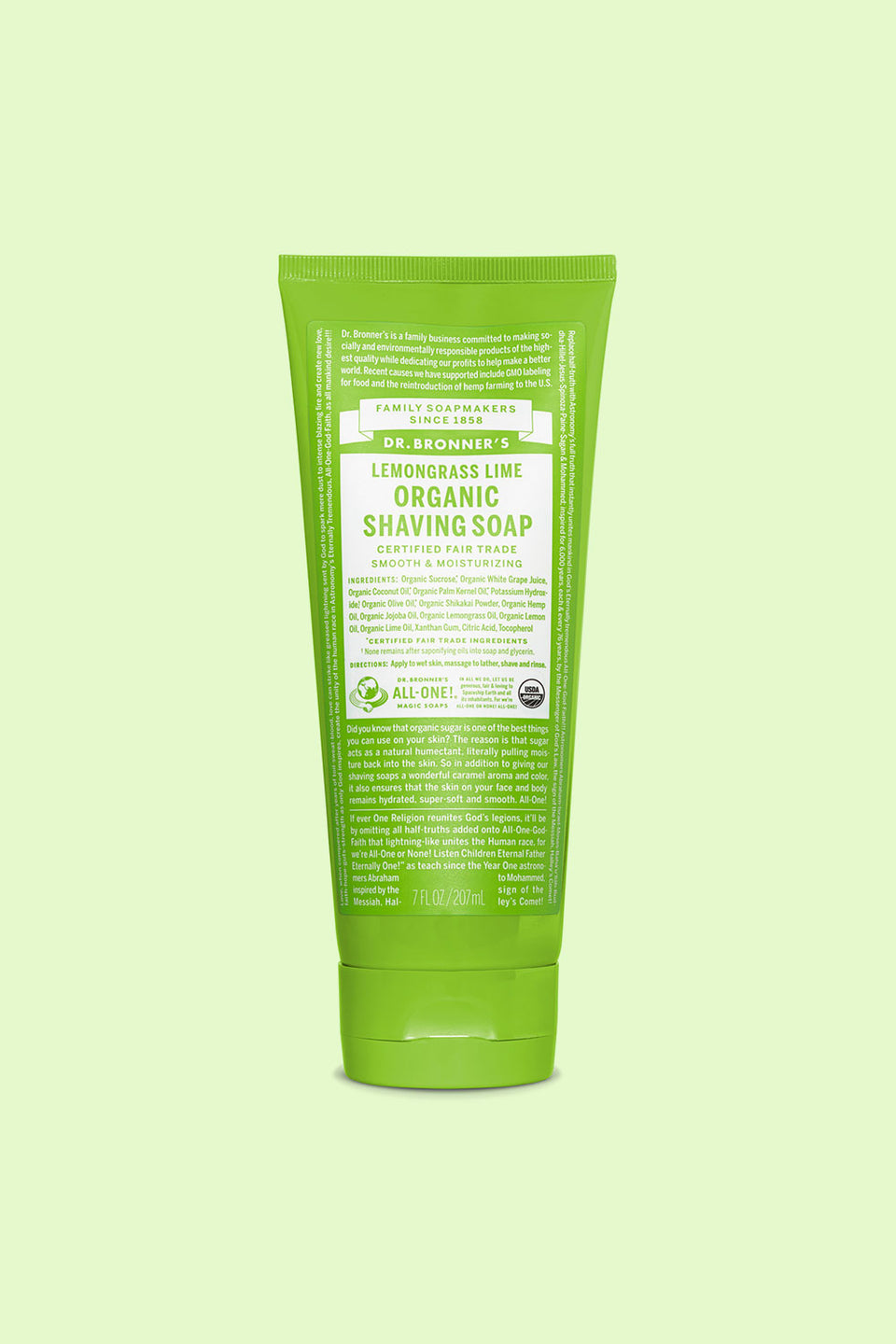 Dr Bronner's Organic Shaving Soap - Lemongrass Lime