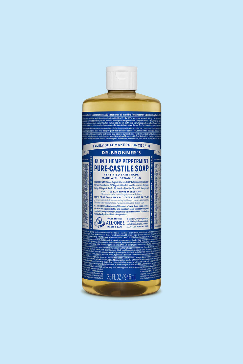 Dr Bronner's Pure Castile Soap - Peppermint 946ml